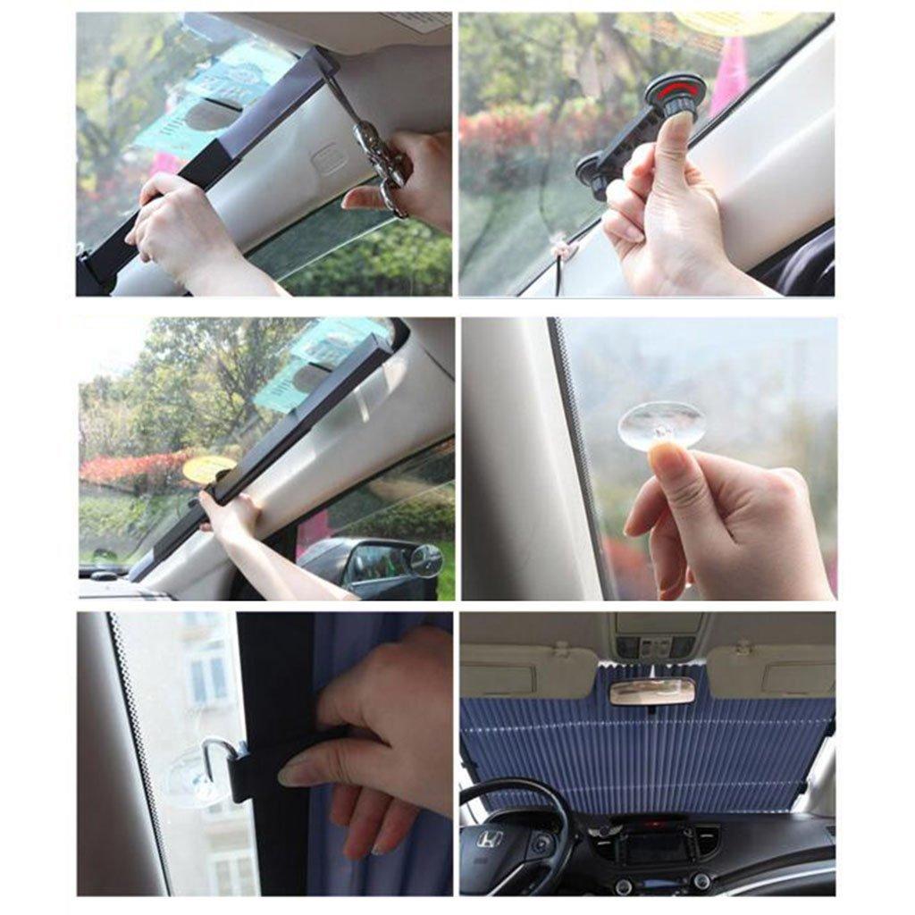 xy Sonnenschutz Frontscheibe Auto Sun Visor Automatische Retractable Sonnenschutz Sonnenschutz Vorhang Car Verwendung W/ärmeisolierende Sonnenblende Lichtabschirmung Abdeckung Farbe : A
