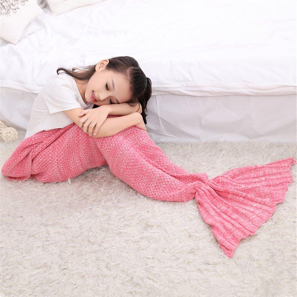 "AIDUE Kids Mermaid Tail Blankets,Handmade Crochet Sofa Blankets Knitted Mermaid Bed Quilt Nap Sleeping Bag for Girls 140cmX70cm(55.1""x27.6"") (pink)"