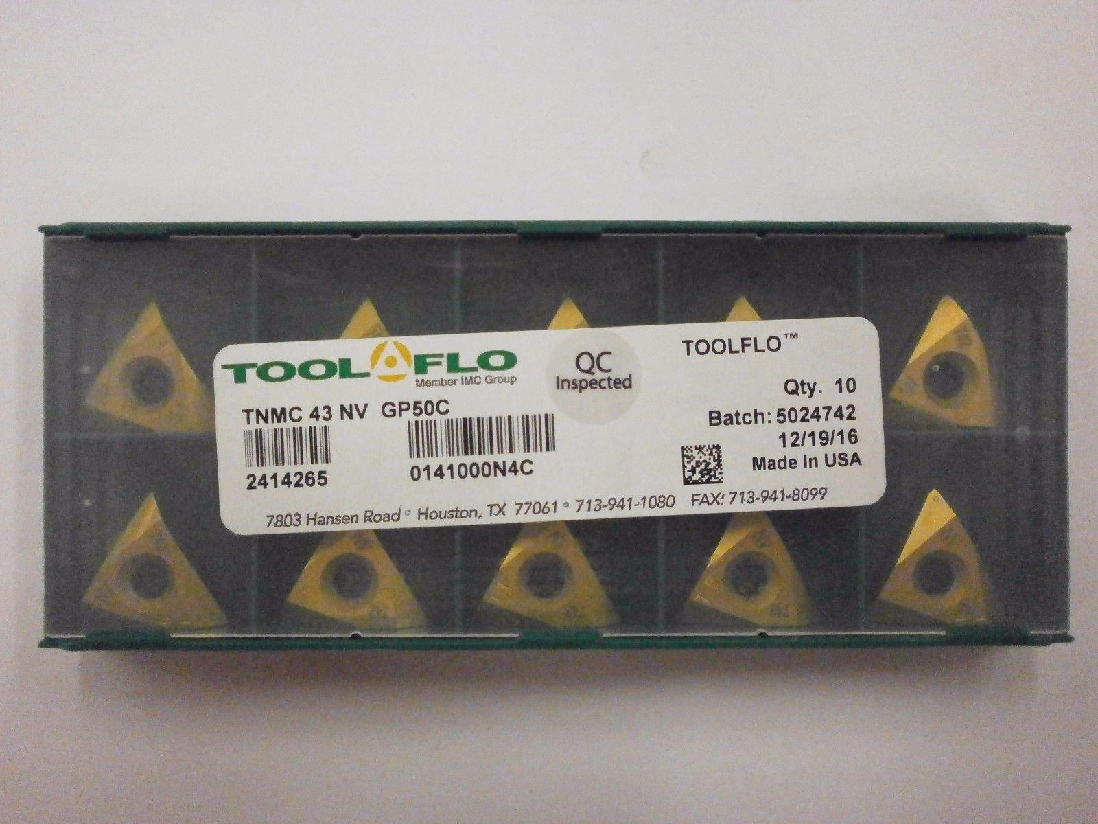 10pc) ToolFlo TNMC 43NV GP50C ON-EDGE Coated Carbide 60° V Threading Inserts