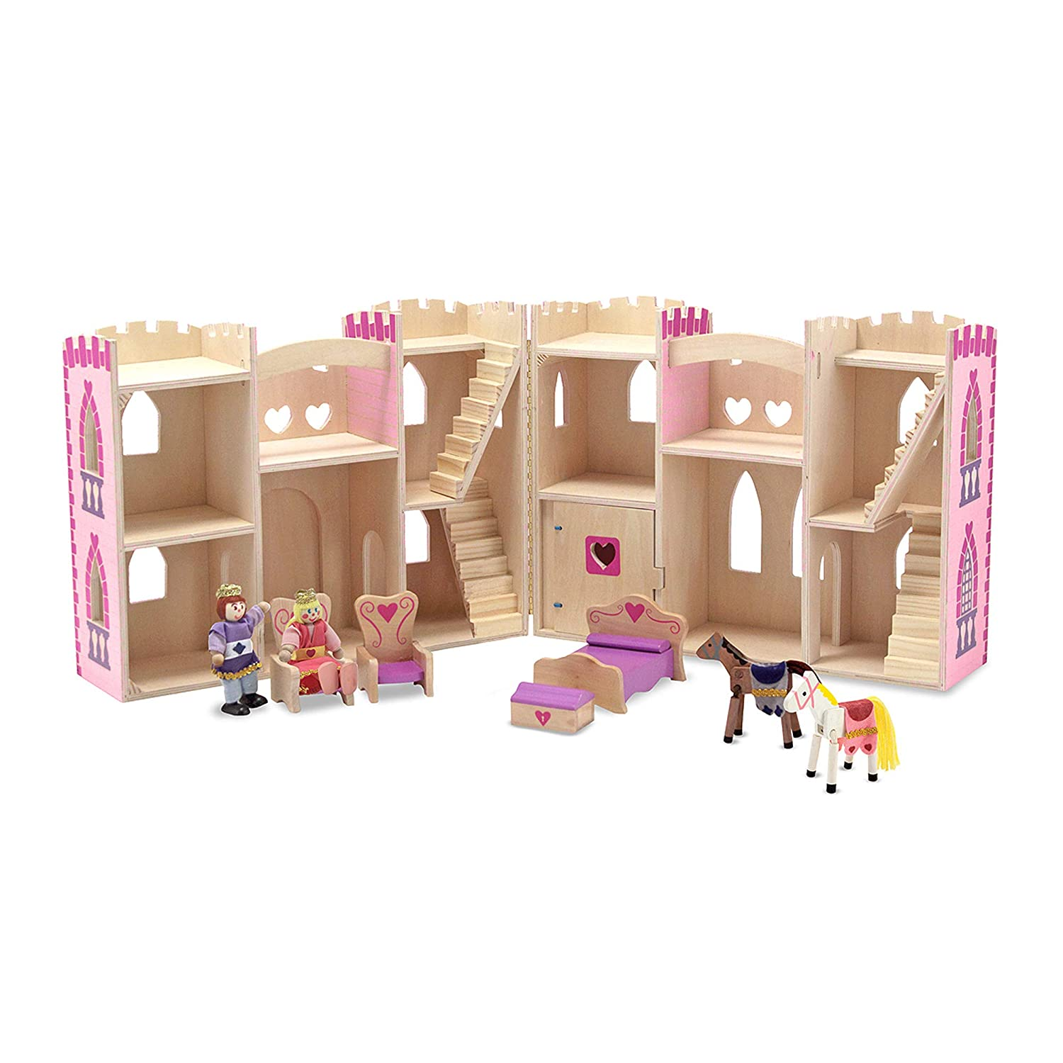 and 4 Pieces of Furniture 3708 2 Horses Melissa /& Doug Fold and Go Wooden Princess Castle With 2 Royal Play Figures