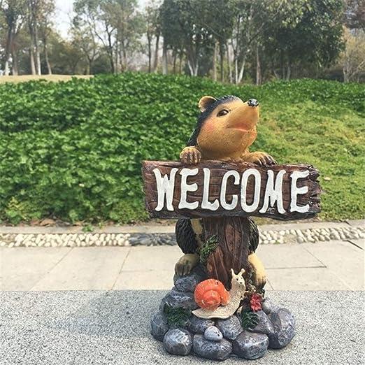 Carteles de Bienvenida Erizo Bienvenido Marca Animales Jardín Patio Jardín Decoración Adornos (Color : One Color, Size : 24X15cm): Amazon.es: Hogar