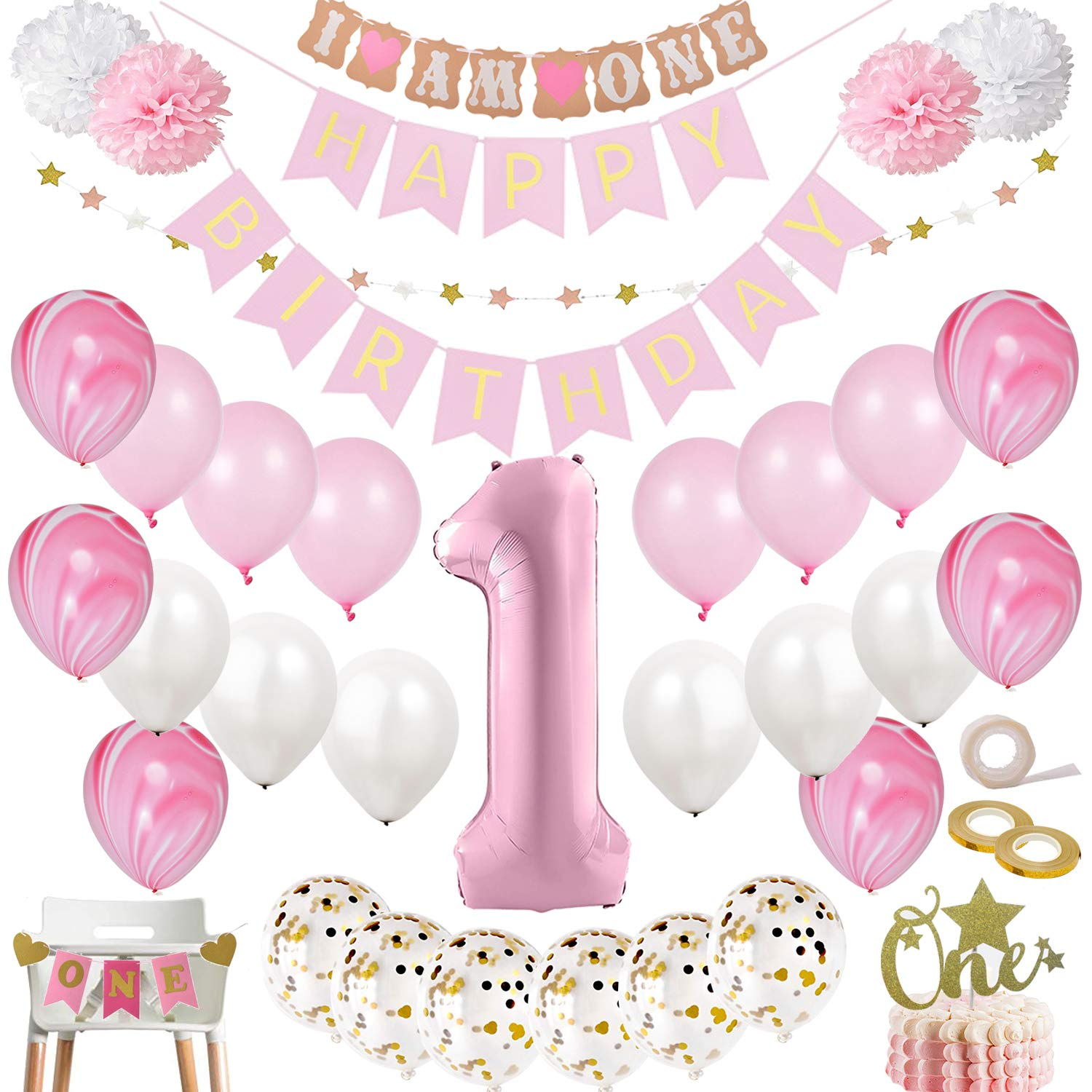 1st Birthday Party Ideas.Mayen 1st Birthday Party Decorations For Girl Mega Set Pink And Gold Girls Theme Kit First Bday 1 Year Balloons One Cake Topper Pom Poms Happy