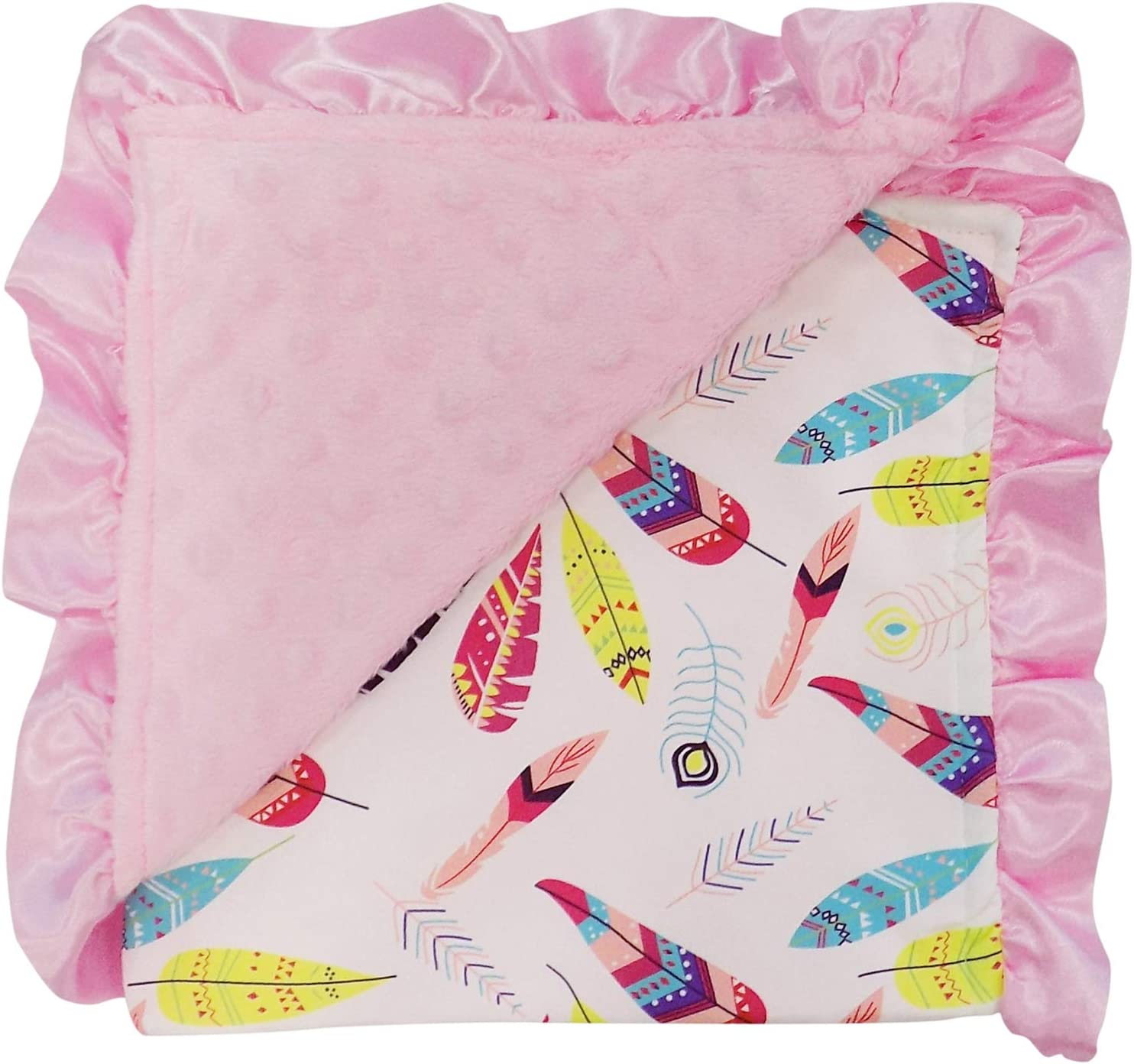 Feather Tribe So Sydney Reversible Soft Textured Minky Dot Baby Infant Toddler Blanket with Satin Trim