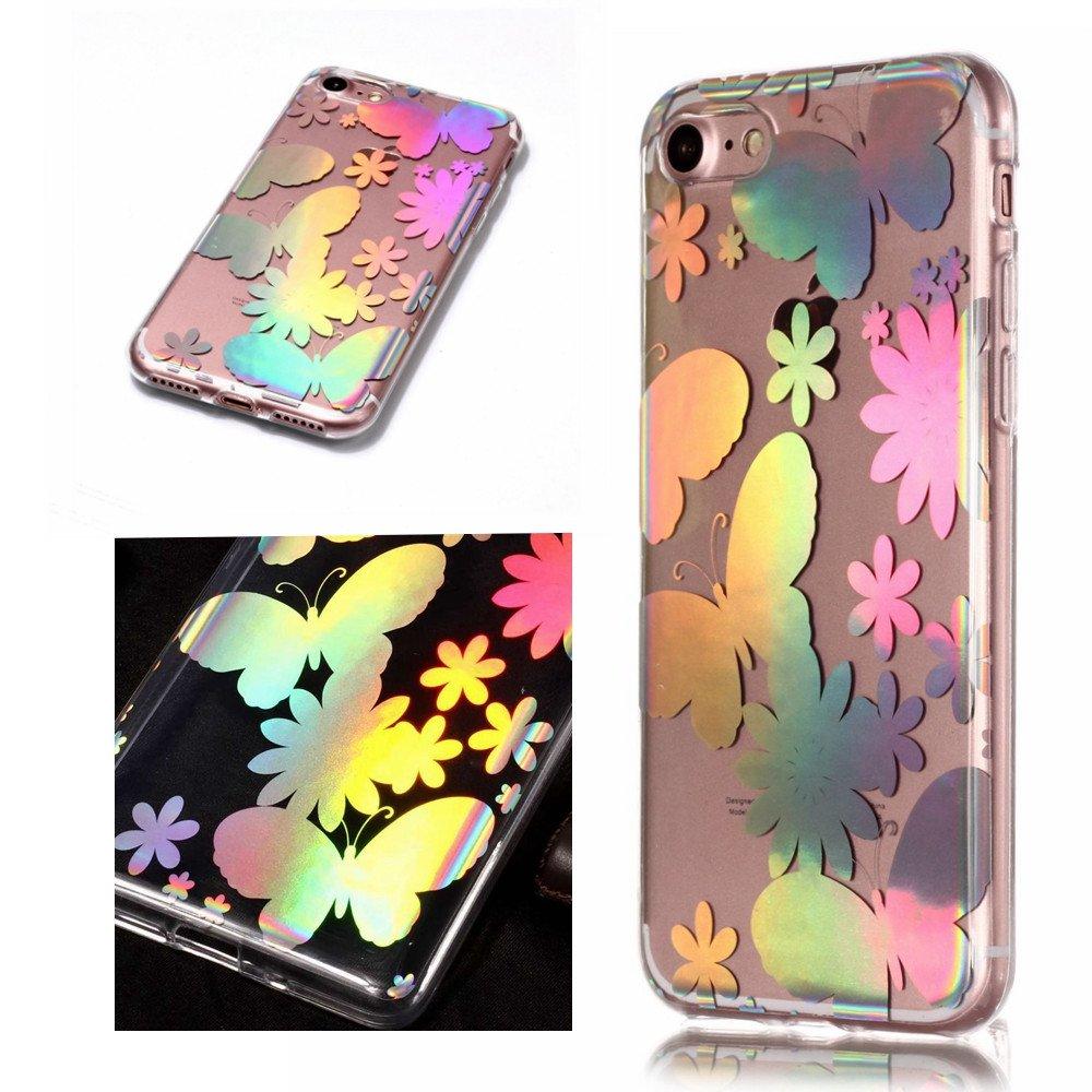 Funda iPhone 7 plus//iPhone 8 plus 9 MHHQ Luxury Glitter Case con Rave Holographic Laser Brillante Flexible Transparente Crystal Soft TPU Silicone Case Cover para iPhone 7 plus//iPhone 8 plus