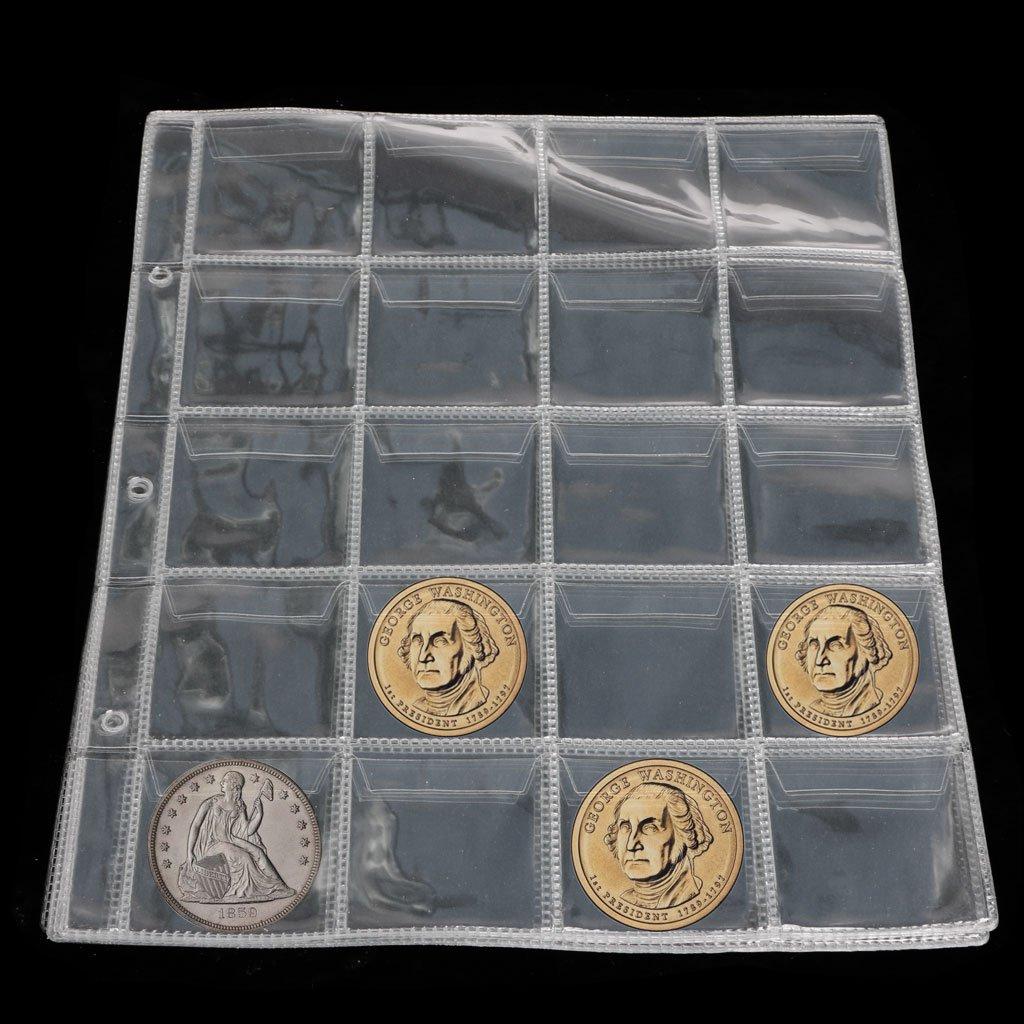 SimpleLife P/áginas del /álbum 20 Bolsillos Monedero Monedero Nota de Almacenamiento Moneda Caja de colecci/ón