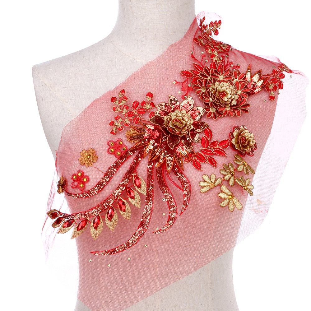 Large Sequins Peony Floral Beaded Lace Applique Feepop Costume Lace Trim Embroidered Bridal Dress Sewing Lace Motifs Gold Red by FEEPOP