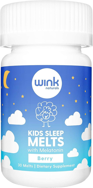 Wink Naturals Kid's Sleep Melts, Natural Sleep Aid Melatonin Supplement for Children