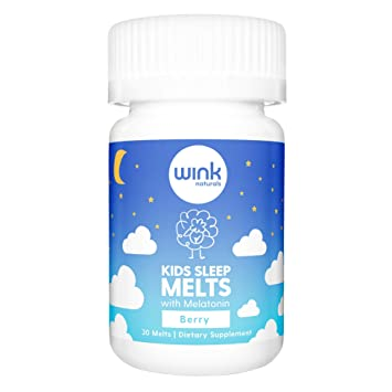 Wink Naturals Kids Sleep Melts, Natural Sleep Aid Melatonin Supplement for Children, 100% Safe and...