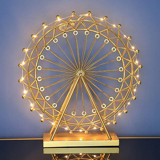 LIZONGFQ Nordic Wrought Iron Rotating Table Lamp Giant Wheel