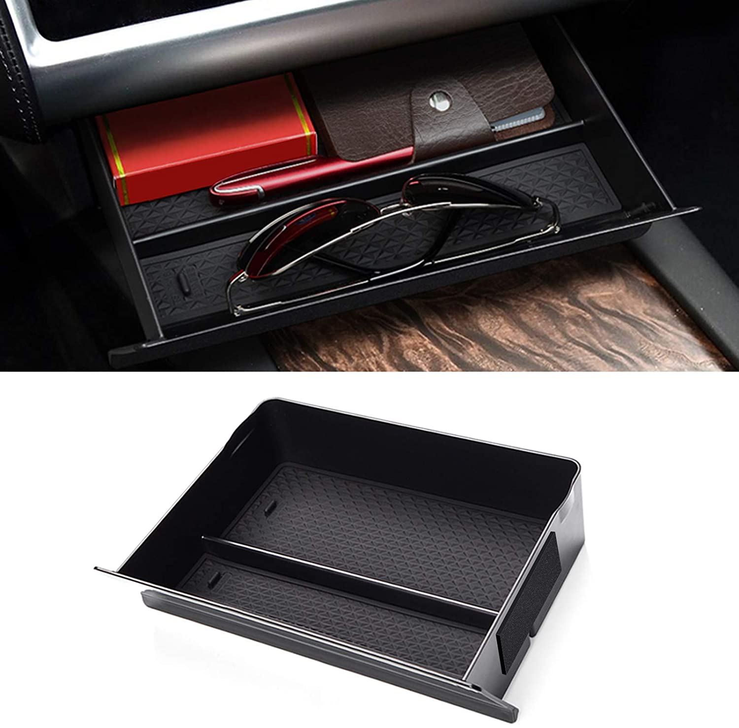 Wooden Cubby Compartment Storage Glasses Box for Tesla Model S Model X Leather Black Car Center Console Drawer Center Container Organizer
