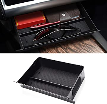 Center Container Organizer Carbon Fiber Black Wooden Cubby Compartment Storage Glasses Box for Tesla Model S Model X Car Center Console Drawer