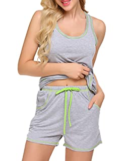 36882517f1b388 Sweetnight Womens Sleepwear Sets Racerback Tank Top and Shorts 2 Piece Pajamas  Set
