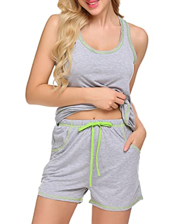 d6a6bfc152 Sweetnight Womens Sleepwear Racerback Tank Top and Shorts 2 Piece Pajamas  Set (Gray
