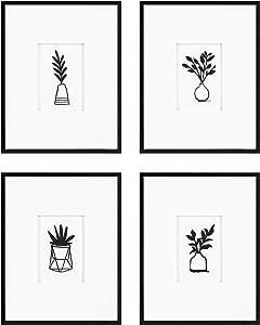 Kate and Laurel Liev Modern Botanical Framed Under Glass Wall Art Set, Set of 4, Black, Natural Chic Boho Art for Wall