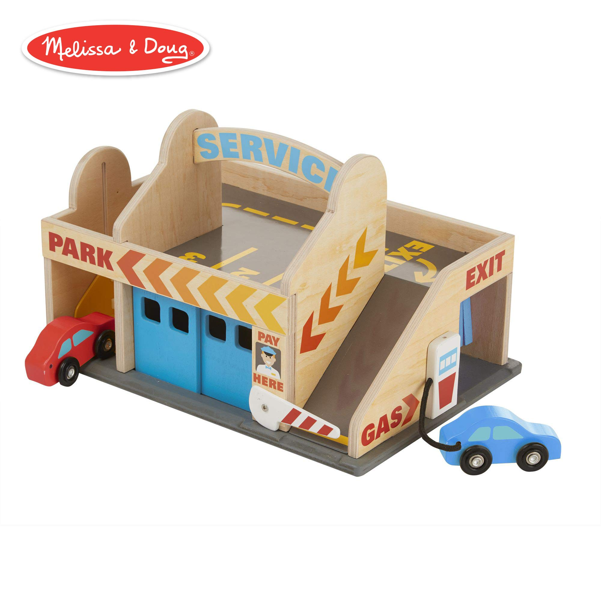 Melissa & Doug Service Station Parking Garage (Vehicles, Functional Elevator, Easy to Carry, 6 Pieces)