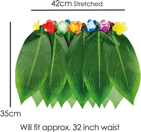 TRIXES Disfraz Hawaiano Colección de 4 piezas - Falda de hojas de ...