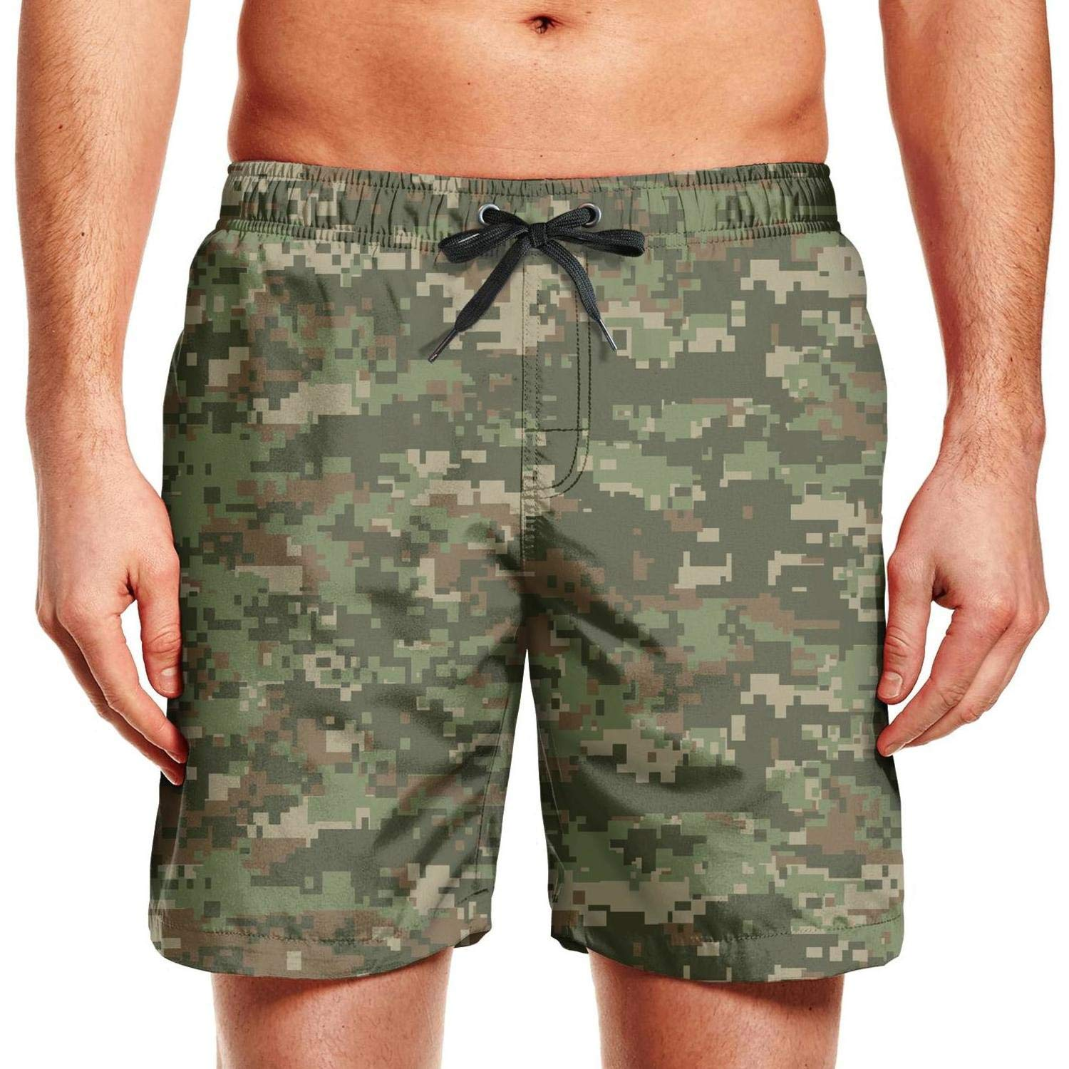 ZYLIN Mens Swim Trunks Printed Classic Woodland Fashion Camouflage Summer Beach Short Cool with Pockets