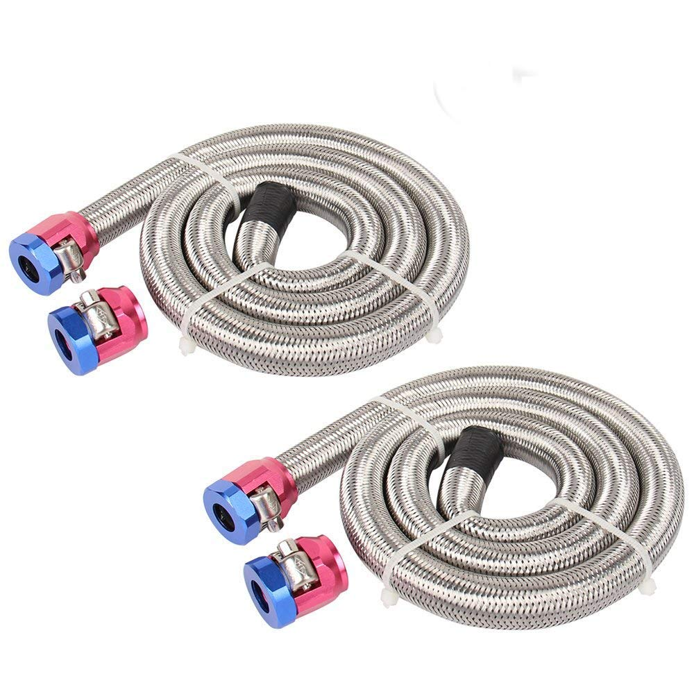 2 PCS CarBole Universal Fuel Line Gas 3/8 in. i.d. 3 ft. Length Braided Stainless