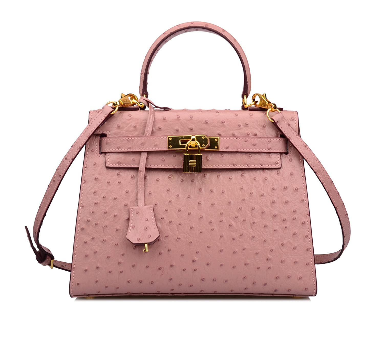 Ainifeel Women's Padlock Purse Ostrich Embossed Genuine Leather Shoulder Handbag Hobo Bag