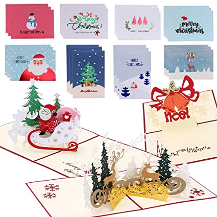 pop up christmas cards and 24pcs blank notes merry christmas cards collection for xmas new year