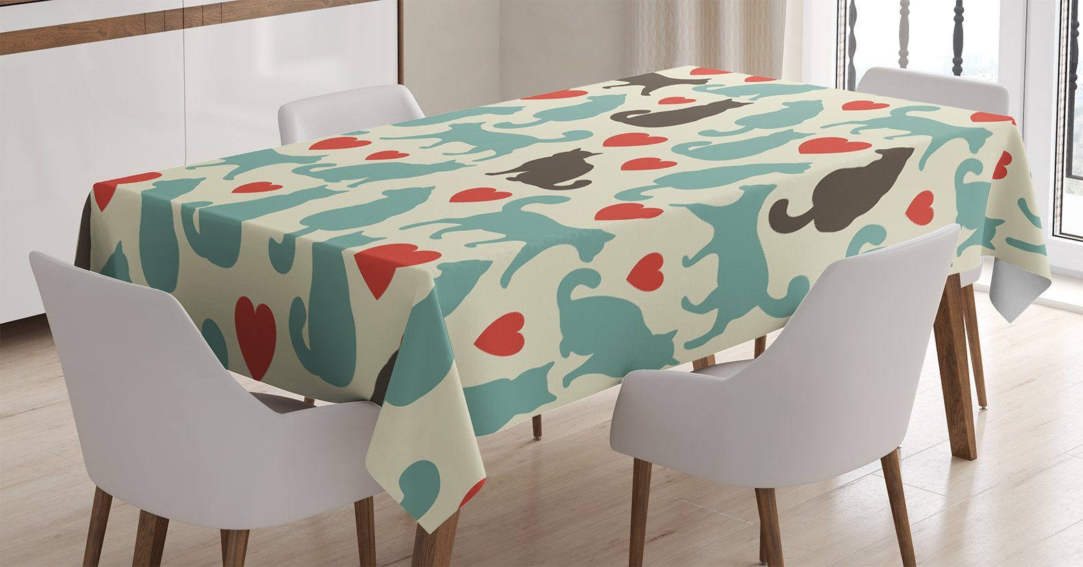 Cat Lover Decor Tablecloth by Ambesonne, Pattern with Cats Hearts Happy Walking Shape Kitty Domestic Animal Pets Silhouette , Dining Room Kitchen Rectangular Table Cover, 60 X 84 Inches