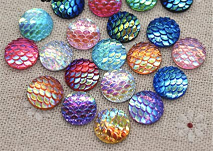 Handmade FishScale Sequin Scrapbook DIY Craft FlatBack 50pcs//Set Dome Buttons