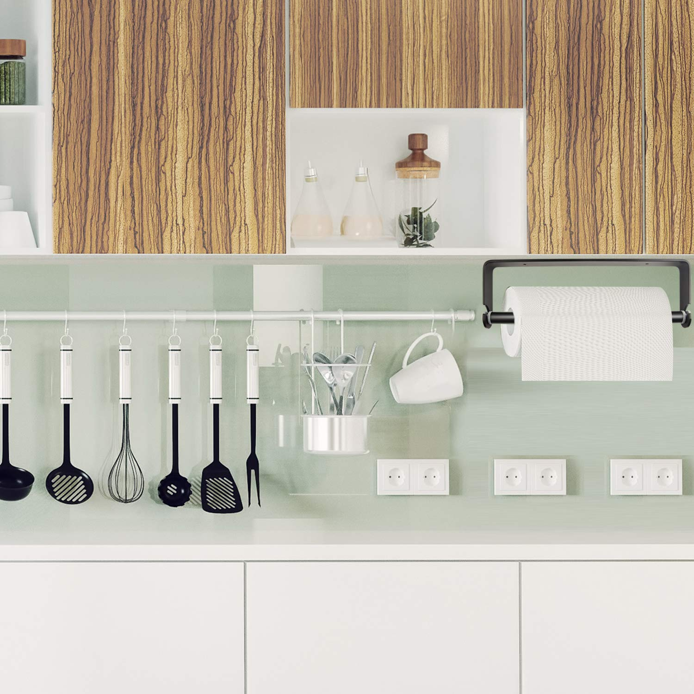 Tuparka Autocollant Serviette en Papier support papier Distributeur de Serviettes de cuisine Soie Porte-serviettes support sous armoire Noir