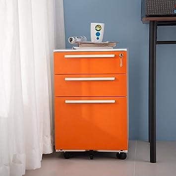 Merax - Archivador con 3 cajones (metal, con llaves): Amazon.es: Oficina y papelería