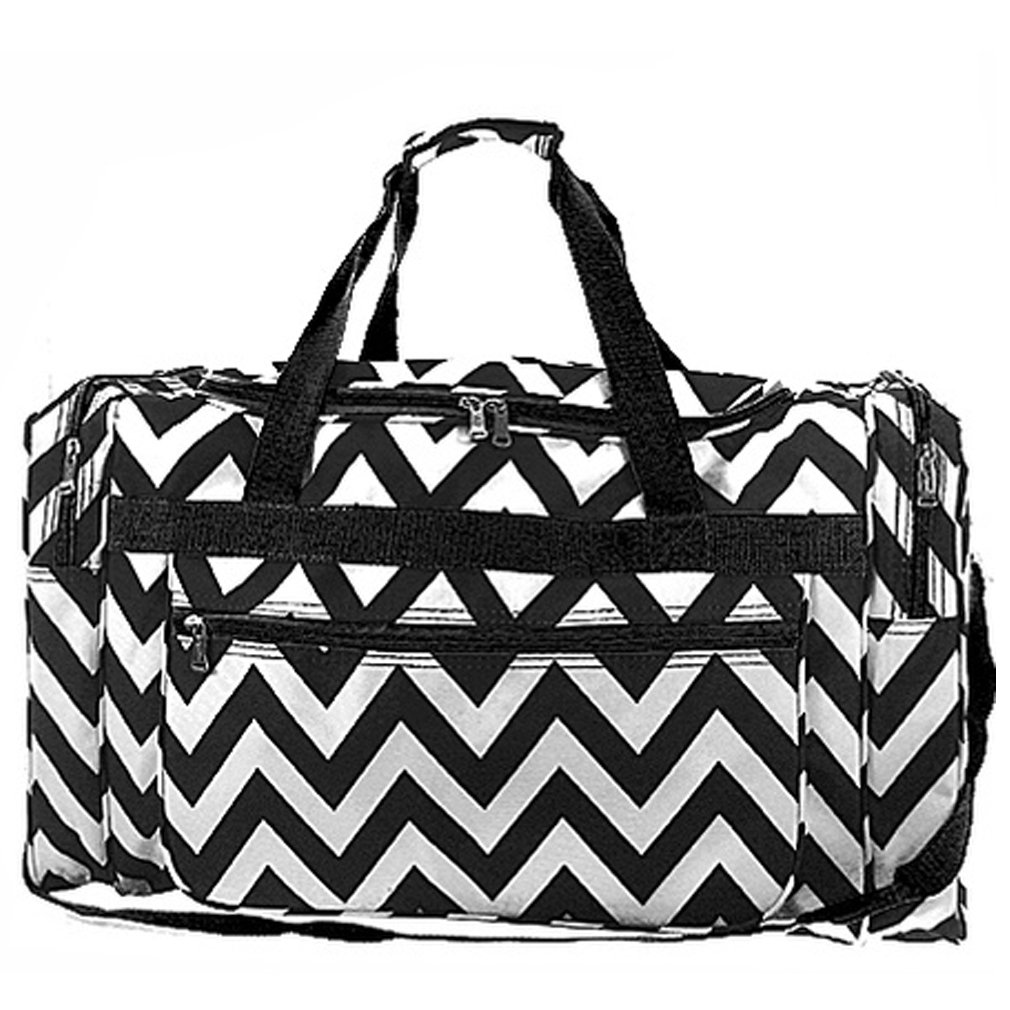 Chevron Print Large 22'' Duffle Travel Luggage Bag Dance Cheer (black)