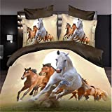 3d Bedding Sets Home Textile Running Horse Pattern 100% Cotton Material 4pcs Queen Size Bedding Sets
