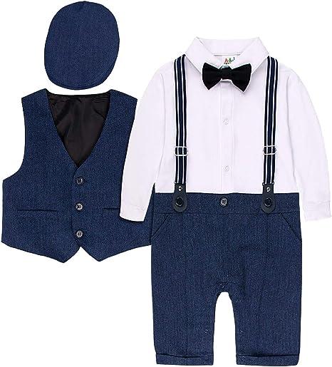 Hosentr/äger und abnehmbare Krawatte A/&J DESIGN Baby Junge Gentleman Anzug Baumwolle Shirt mit Hose Kinder Outfits Set f/ür Hochzeit Geburtstagsparty Fotoshooting