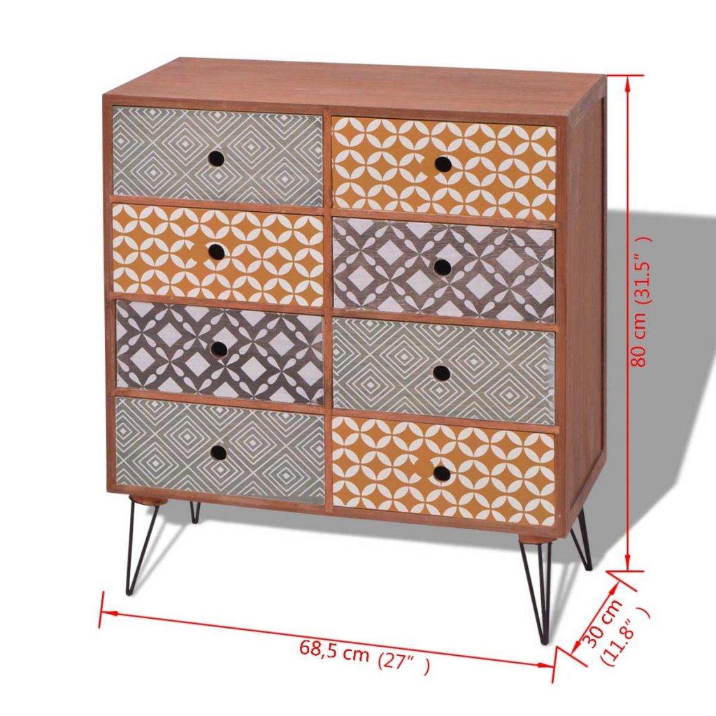 Festnight Retro-Design Sideboard Schubladenkommode Kommode mit 8 Schubladen Schubladen Schubladen Highboard für Schlafzimmer Wohnzimmer - Grau f105f3