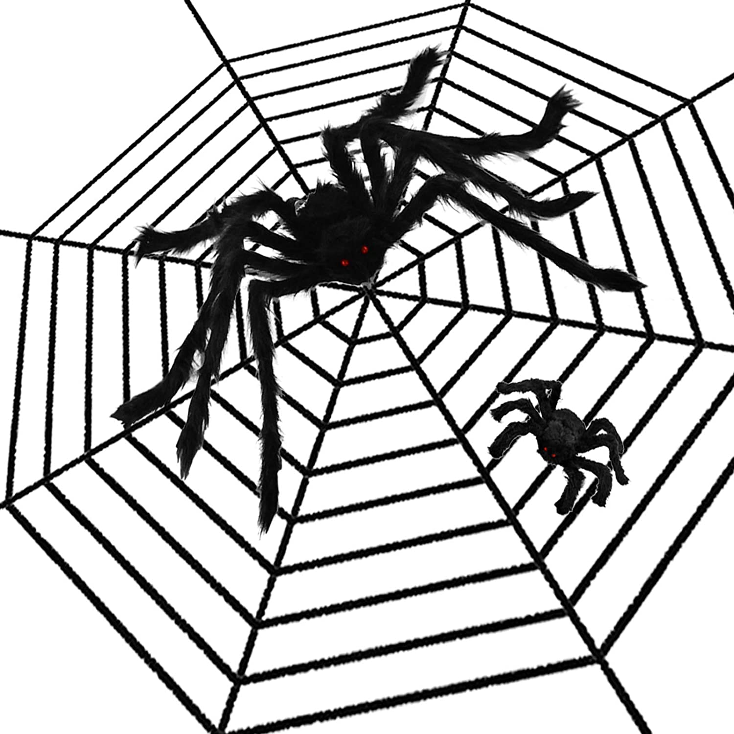 KATUMO Halloween Spider Web Decor 12Ft Giant Cobweb 2.6Ft Huge Fake Spider and 0.8Ft Mini Spider Value Set for Halloween Decorations Bar Party Decor Outdoor Indoor Yard Scary Haunted House Decors