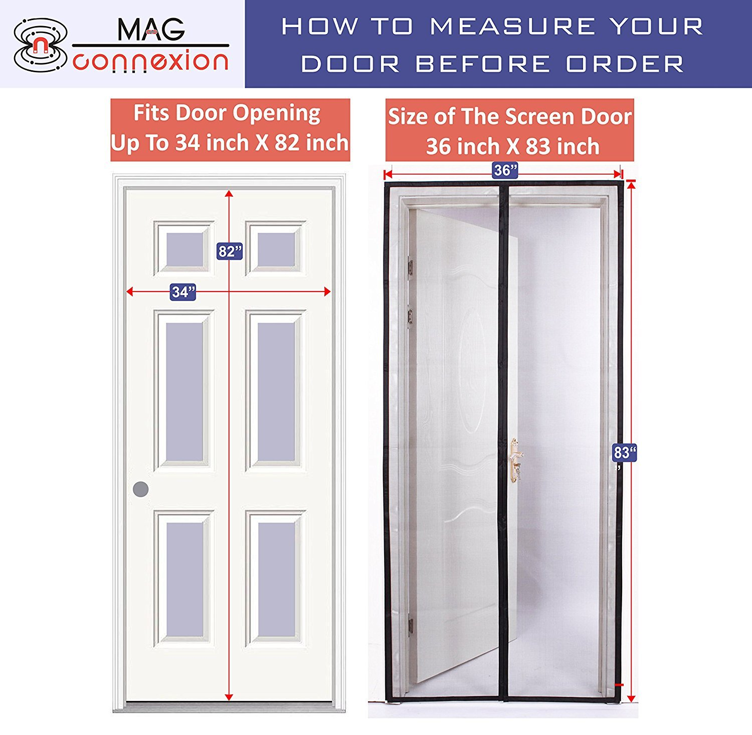 Grey Magnetic Screen Door With Upgraded Fire Resistant Fiberglass Mesh |  Fit Doors Up To 34 X 82 Inch | 100% Satisfaction U0026 Guranteed     Amazon.com