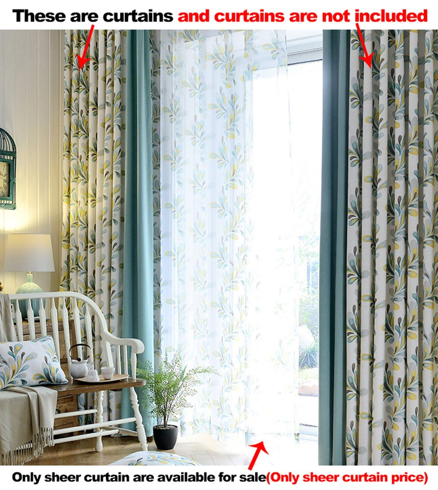 Aside Bside Transparent Window Decoration Rod Pocket Top Pteris Printed Fantastic Style Sheer Curtains For Sitting Room Houseroom and Child Room (1 Panel, W 52 x L 63 inch, White)