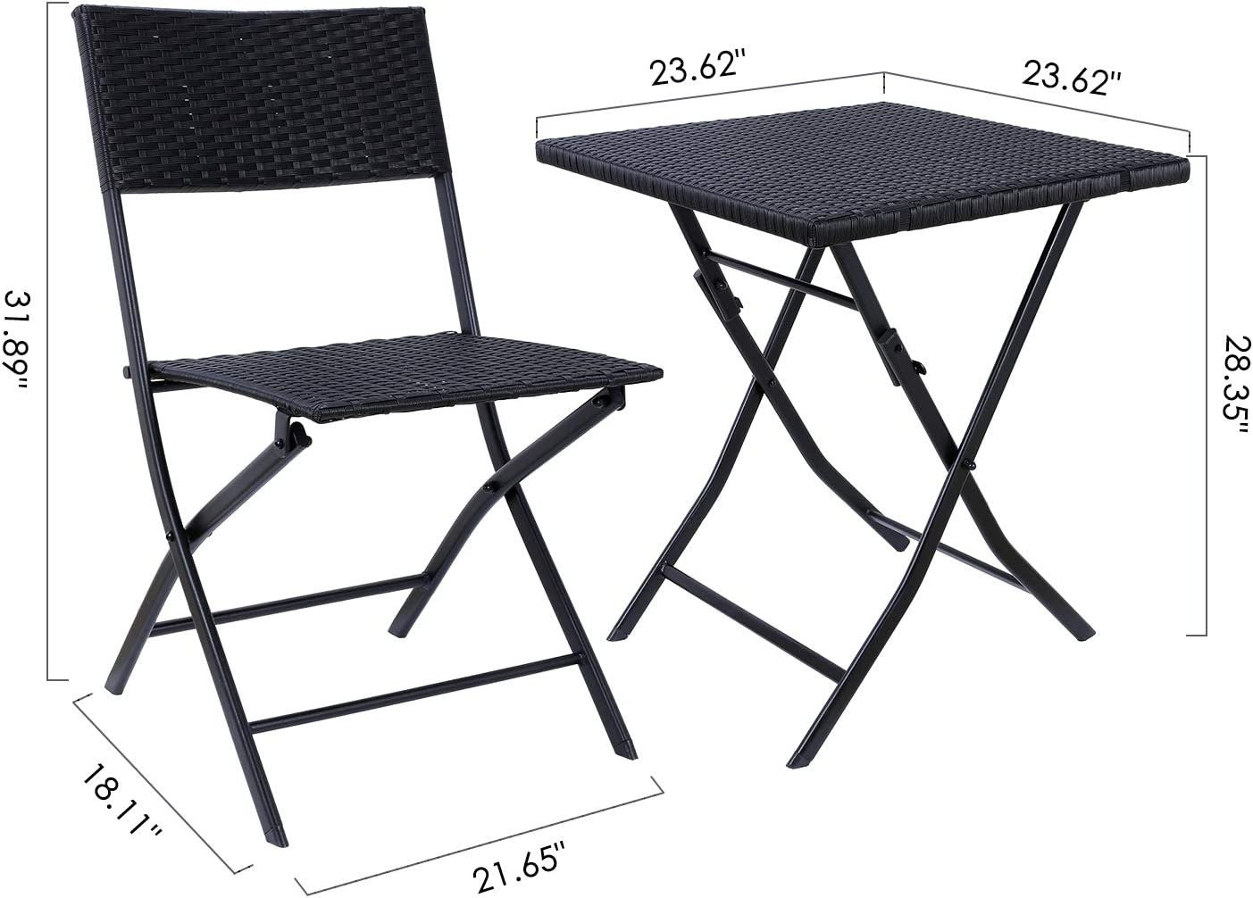 GARTIO 3Pcs Patio Rattan Bistro Set, Foldable Table and Chairs Outdoor Waterproof Hand Woven Furniture, with Rust-Proof Steel Frames, Suit for Balcony and Garden, Backyard and Porch