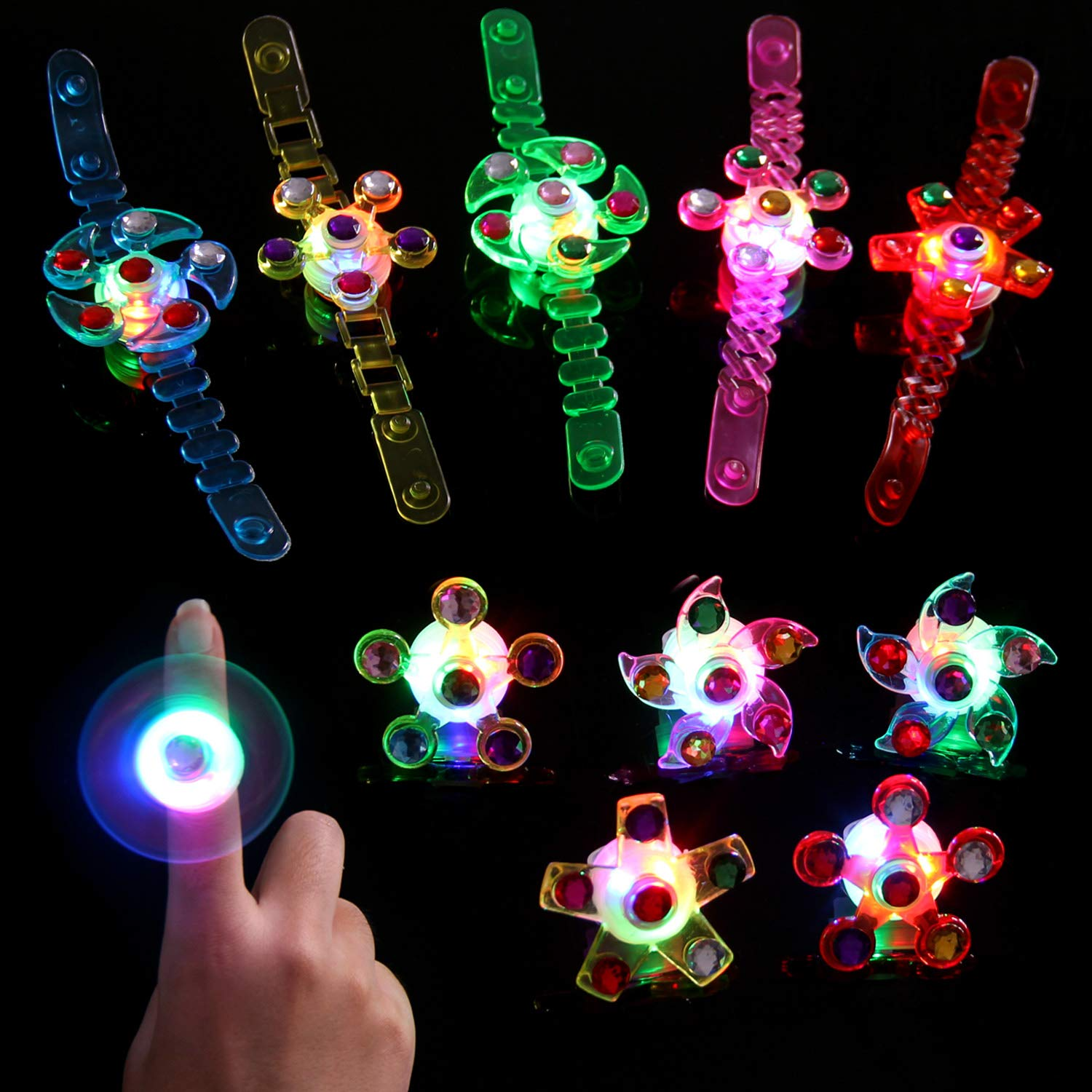 Satkago 18Pcs Light Up Rings Bracelets LED Party Favors for Kids Boys Glow in The Dark Party Supplies Bulk Neon Party Supplies Hand Spin Stress Relief Anxiety Toys Prizes for Kids Classroom