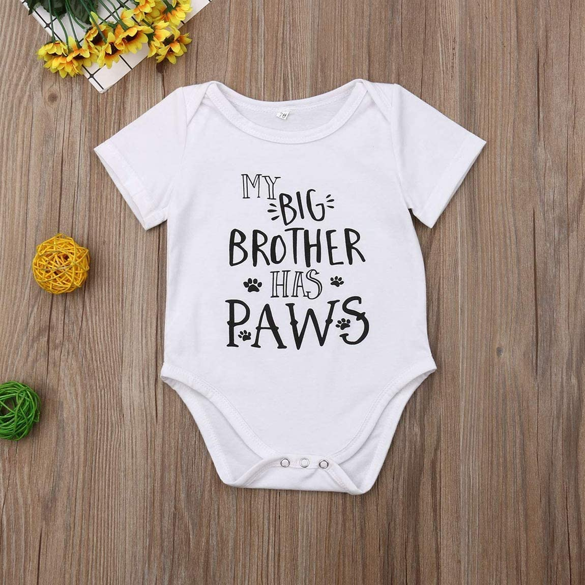 LIKEVER Newborn Baby Boy Girl Clothes Funny Letter Print Romper Short Sleeve One Piece Bodysuit Big Brother Sister Outfits