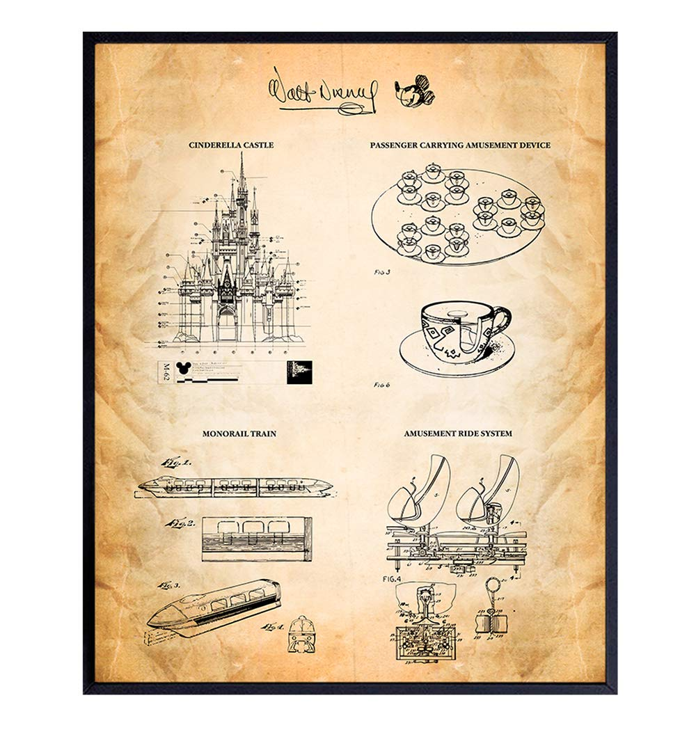 Disney World Rides Patent Prints - Gift for Mickey Mouse, Walt Disney, Disneyland Fan, Boys, Girls, Kids - Rustic Home Decor Wall Art for Living Room, Bedroom - Vintage 8x10 Poster Picture -UNFRAMED