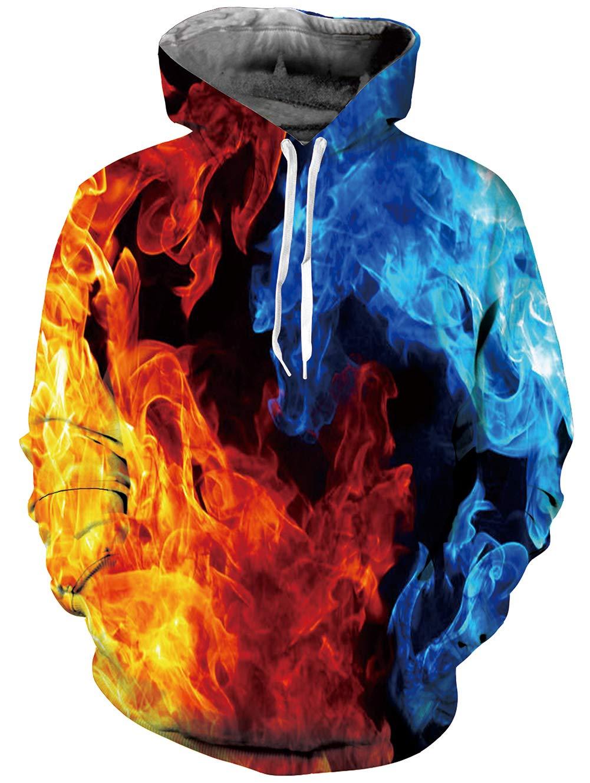TUONROAD Unisex 3D Druck Hooded Dunkelbraun Kapuzenpullover Sweatshirt Aufdruck Mehrfarbig Tops Hoodie und Fleece Plüschfutter Grafik Langarm Sweatshirt