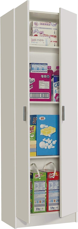 Habitdesign 007144O - Armario 2 Puertas Multiusos, Armario Auxiliar Color Blanco, Medidas 58,5 cm (Largo) x 180 cm (Alto) x 37 cm (Fondo)