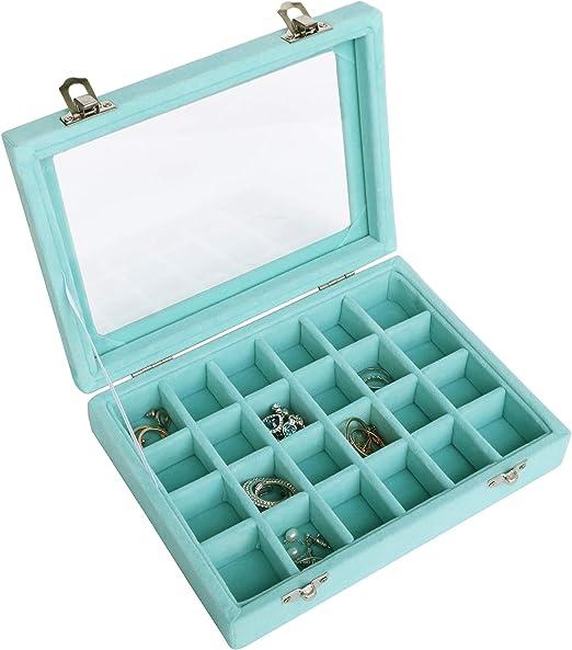 Ivosmart 24 Section Velvet Glass Jewelry Ring Display Organiser Box Tray Holder