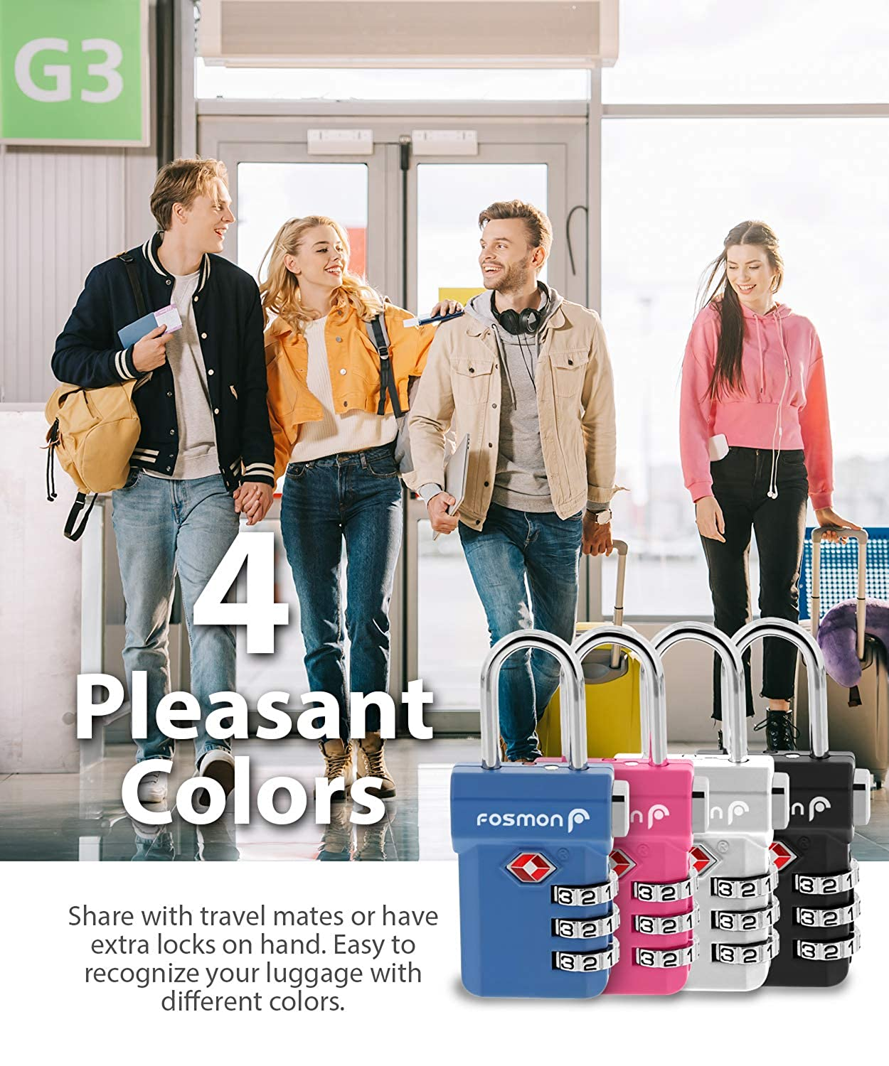 Black Fosmon TSA Approved Luggage Locks, Pink 4 Pack Suit Case and Luggage Open Alert Indicator 3 Digit Combination Padlock Codes with Alloy Body and Release Button for Travel Bag Silver Blue