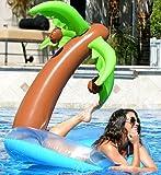 Kangaroo's Inflatable Raft w/ Palm Tree; Floating Island Swimming Pool Float; 4 Ft