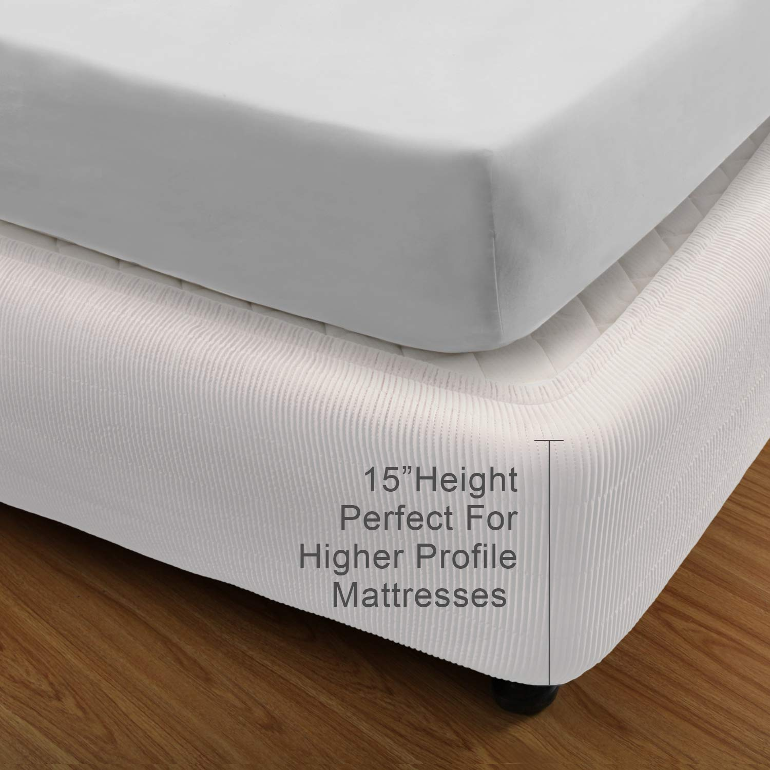 MARQUESS Box Spring Cover- Wrap Around Elastic, Vertical Stripe Pattern Bed Skirt Alternative, and Classic 15'' Drop Length. Polyester/Polyester Filling (White, Queen)