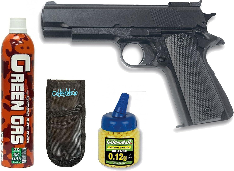 Pack Pistola airsoft HFC G16. Funcionamiento por gas. Calibre 6mm. + Gas + 1000 bolas + Funda Portabolas. 18398/21993/23054