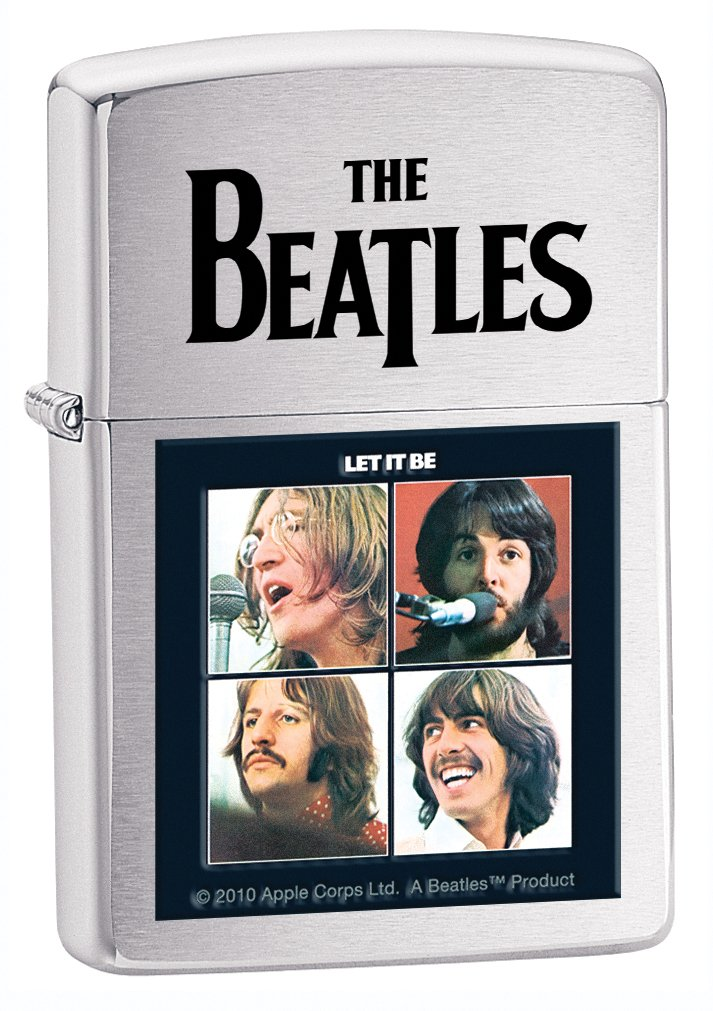 Zippo Brush Chrome Beatles Lighter (Silver, 5 1/2x 3 1/2-Cm)
