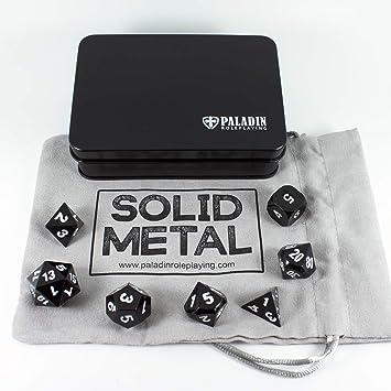 Juego de dados Paladin de rol, sólido y de metal, en caja de ...