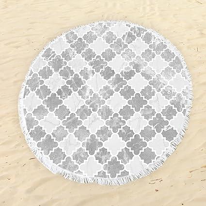 Toallas de playa de baño manta, marroquí redondo Vintage de mármol mosaico de secado rápido