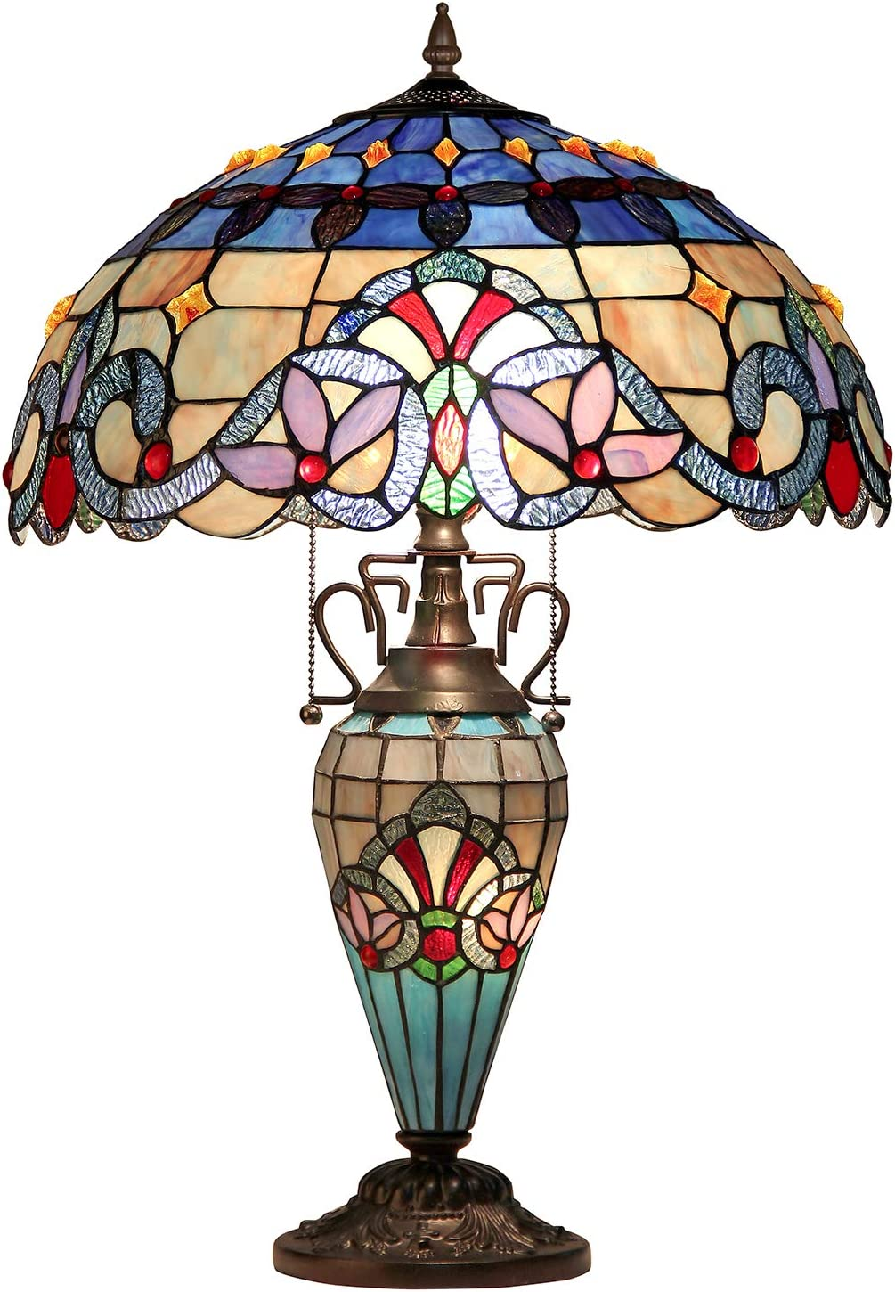 "Tiffany Table Light, Capulina HandCrafted 16.1"" Tiffany Desk Lamp Shades, Stained Glass Lamps Accentuate any Home or Business, Office, Desk, Entry, Living Room with a Classic Feel - Gothic Glass Style"